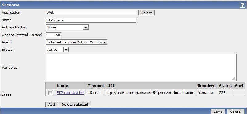 Zabbix – use web monitoring for FTP check   mypoorbraindump